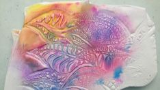 Free tutorial, Flower power, batik like color on polymer clay with alcohol inks and pastels