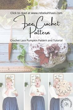 This adorable lace pumpkin crochet pattern will add the perfect touch to your farmhouse decor.  Click to read more about this crochet pattern. Crochet Pillow, Crochet Lace, Free Crochet, Crochet Fall Decor, Crochet Ideas, Knitting Patterns Free, Free Pattern, Crochet Patterns, Crochet Pumpkin