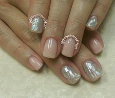 Cellphone nails. Nude. Glass nails. #PreciousPhanNails
