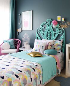 Kids bedroom ideas - girls bedroom by four cheeky monkeys. More on the blog