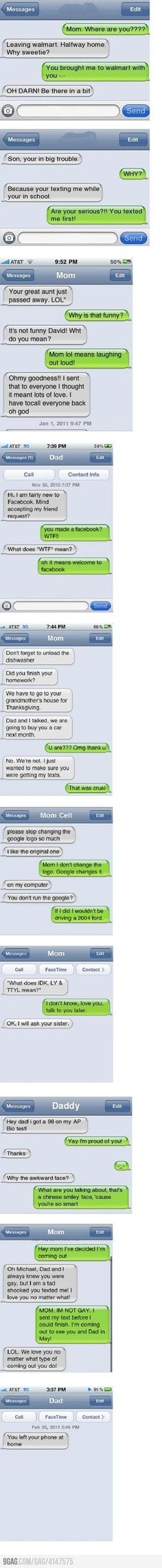 haha...mom & dad texting--I posted this before but it still makes me laugh. Silly parents.