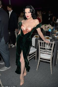 You Teese! Dita Von Teese is no stranger to slipping down to her lingerie, a fact she made very clear when she stormed the red carpet while flashing an eye-popping bustier at the 2017 amfAR Inspiration Gala in Los Angeles on Friday night