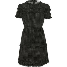Red Valentino     Micro Pois Print, Silk Crepe De Chine Dress (25 640 UAH) ❤ liked on Polyvore featuring dresses, black, pattern dress, crepe de chine dress, short ruched dress, ruching dress and shirred dress