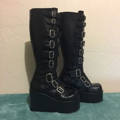 Black DEMONIA Womens 7 Goth Boots Buckles Platform Wedge Knee High CONCORD108 #Demonia #Boots #Gothic