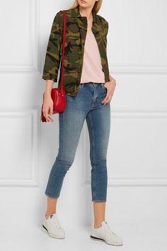 NLST (jacket). SPLENDID (tank). MIH JEANS (jeans). NIKE (sneakers). GUCCI (bag).