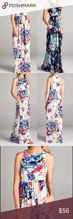 "🆕 ARRIVAL Floral sleeveless racer back maxi dress A perfect dress for spring/summer! 🍉☀️ Features: easy to wear, pull over style Made in USA Material: 95% Polyester, 5% spandex Sleeveless Bust area has lining Has stretch Hidden pockets floral printed   Please see approx. measurements below. The material has good stretch. THIS LISTING IS FOR IVORY COLOR  Measurements:  Small (S): Bust: 35""-36"" Length: 56.5""  Medium (M): Bust: 37""-38"" Length: 56.5""  Large (L): Bust: 39""-40"" Length: 57""…"