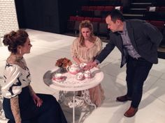 Director, Richard Robichaux works with actresses, Anastasia Davidson (left) and Jordan Cooper (center). Photo by Don Marrazzo.