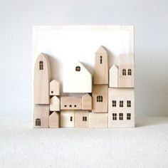 Items similar to Miniature Wood Wall Town - Original 3D Art on Etsy