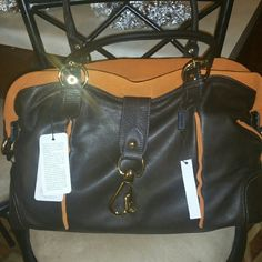 Alberta Dicanio all leathet bag Soft and brand new with tags never been used chocolate leather and orange suede bag. Very big bag. Alberta Dicanio  Bags Shoulder Bags