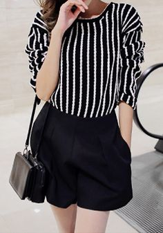 Striped Crew Neck Top - Long Sleeves Striped Top