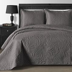 Comfy Bedding Extra Lightweight and Oversized Thermal Pressing Leafage 3-piece Coverlet Set (King/Cal King, Grey) //http://bestadjustablebed.us/product/comfy-bedding-extra-lightweight-and-oversized-thermal-pressing-leafage-3-piece-coverlet-set-kingcal-king-grey/