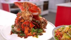 Family Food Fight: Kylie Kwong's spanner crab with chicken thigh fillets egg fried rice and native Australian greens Mushroom Chicken, Chicken Rice, Crab Feast, Garlic Prawns, Radish Salad, Baked Fish, Greens Recipe, Arroz Con Pollo