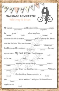 wedding mad libs. great for a reception. totally love.Love this idea!