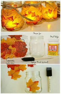 Mason, fall leaves. DIY anyone?