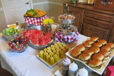 BBQ themed party with pulled pork sandwiches (w/ 3 sauce choices), sliced watermelon, other fresh fruit, corn on the cob & whole grain vegetable pasta salad.