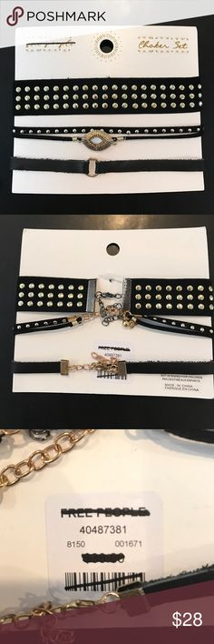 Free People choker set of 3 Brand new with tags. 3 Free People black chokers Free People Jewelry Necklaces