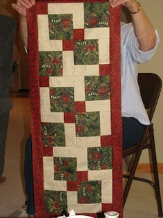 Disappearing 9 patch Christmas table runner