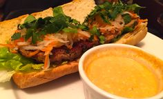 Spicy Banh Mi with Herb Chicken Meatballs, Pickled Daikon, Carrots ...