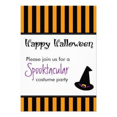 Halloween Party Invitations Witches Hat