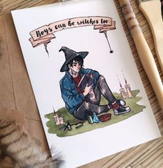 Digital printed post card with original illustration. Original illustration drawn with watercolors. Witch Drawing, Boy Drawing, Character Inspiration, Character Art, Character Design, Witch Aesthetic, Aesthetic Art, Male Witch, Comic Anime
