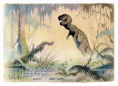RARE Frazetta watercolor ('The Land that Time Forgot', c. 1960).