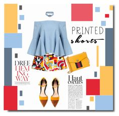 """""""It's a long story"""" by kts-desilva ❤ liked on Polyvore featuring Dsquared2, Gianvito Rossi, Gucci, Anja and printedshorts"""