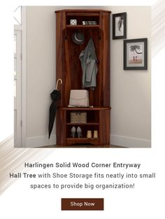 Harlingen Solid Wood Corner Entryway Hall Tree with Shoe Storage fits neatly into small spaces to provide big organization! #halltree #entryway #solidwood #shoestorage #furniture #cornerentryway #cornerhalltree #homedecor #decor #interiordecor #interior #interiordesign #bench #benchwithstorage #hanginghalltree
