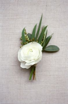 White ranunculus Boutonniere: http://www.stylemepretty.com/little-black-book-blog/2015/04/02/organic-elegant-wedding-inspiration/ | Photography: Almond Leaf - http://almondleafstudios.com/