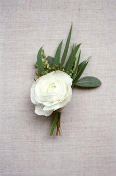 White ranunculus Boutonniere: http://www.stylemepretty.com/little-black-book-blog/2015/04/02/organic-elegant-wedding-inspiration/ | Photography: Almond Leaf - http://almondleafstudios.com/