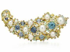 """Brosche """"Florida Plam"""" aus Gold, Email, US-Perlen aus dem Fluss Miami/Ohio, Diamanten, Saphir und blauem Zirkon; Designer: G. Paulding Farnham – Tiffany & Co., New York, 1889."""