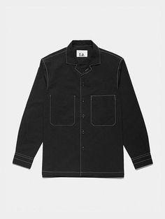 Stitched Cotton Pocket Shirts Black
