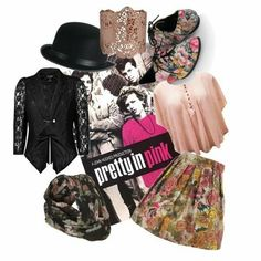 Pretty In Pink Movie Inspired Fashion . my fav movie Pink Fashion, Party Fashion, Pink Movies, Lace Blazer, Bare Necessities, Crop Shirt, Cgi, Polyvore Outfits, Pretty In Pink