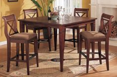 """5pcs Bar Height Table and 4beautiful Design Bar Chairs #PD F21303,f11033 by HP. $899.99. chair:30""""H seat x45""""H. table:42""""+12""""leaf x54""""x41""""H. 4beautiful Design Bar Chairs. 5pcs Bar Height Table set. some assembly maybe required."""