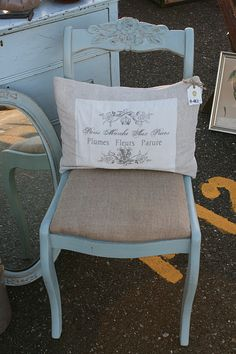 I have this exact chair, but its white... I am going to give it a burlap seat... Very pretty....