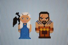 Daenerys Targaryen and Khal Drogo - Game of Thrones magnets hama perler bead sprites by DecorarteLeon