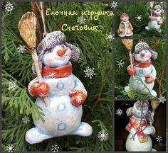 Снеговик Новогодняя игрушка из папье-маше Цена 3000 руб./1 шт.