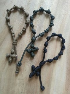Paracord rosary bracelets from Little Prayers. L-R: Coyote Brown, Olive Drab, Black. From www.facebook.com/littleprayers1