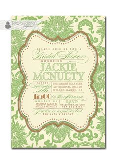 Bridal Shower Invitation Classic Sage & by digibuddhaPaperie