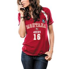 Women's San Francisco 49ers Joe Montana Majestic Scarlet Hall Of Fame Relentless Pressure T-Shirt