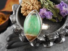 Boulder Chrysoprase Ring - Size 8