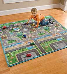 reversible-play-mat-and-cars. He loves him some hot wheels!