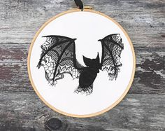 Black lace bat embroidery hoop art gothic home decor gift halloween decoration ghost framed tattoo flash horror embroidered cotton curiosity