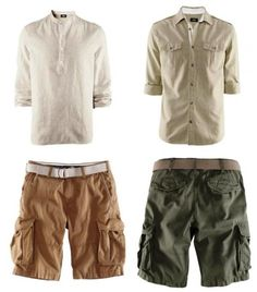 Mandarin collar shirt in linen blend and cotton,  essential Bermuda cargo shorts in camel or Green Khaki with belt included (25 €), all have in H Great summer look!  African prints