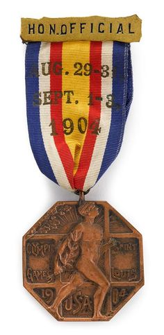 Merveilleux Rare 1904 St. Louis Olympic Games Ribboned Participation Medal, Dieges And  Clust, New