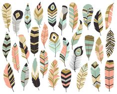 Tribal Feathers Clipart - Set of 31 Vector, PNG & JPG Files - Unique, Beautiful Boho Feather Clip Art in Coral, Navy, Mint and Gold Clip Art Plume, Feather Clip Art, Arrow Feather, Feather Vector, Tribal Feather, Tribal Arrows, Pena Tribal, Vintage Clipart, Arrow Clipart