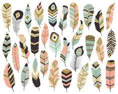 Imágenes Prediseñadas - conjunto de vectores 31, PNG y JPG archivos - plumas tribales único, hermoso pluma de Boho Clip Art en Coral, azul marino, menta y oro