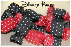 Disney Candy Box - White Polka Dots - Mickey Party - Minnie Party - Origami - Paper Decoration by decoramipaper on Etsy