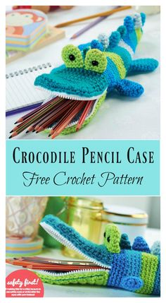 Crocodile Pencil Case Free Crochet Pattern #freecrochetpatterns #case #animal
