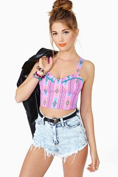 Painted Desert Bustier I think red or purple would look better for my own preference like the style though Stylish Outfits, Cool Outfits, Summer Outfits, Fashion Outfits, Star Fashion, Love Fashion, Womens Fashion, Blusas Top, Bustier Dress