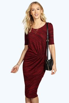 Shana Knot Front Midi Split Dress